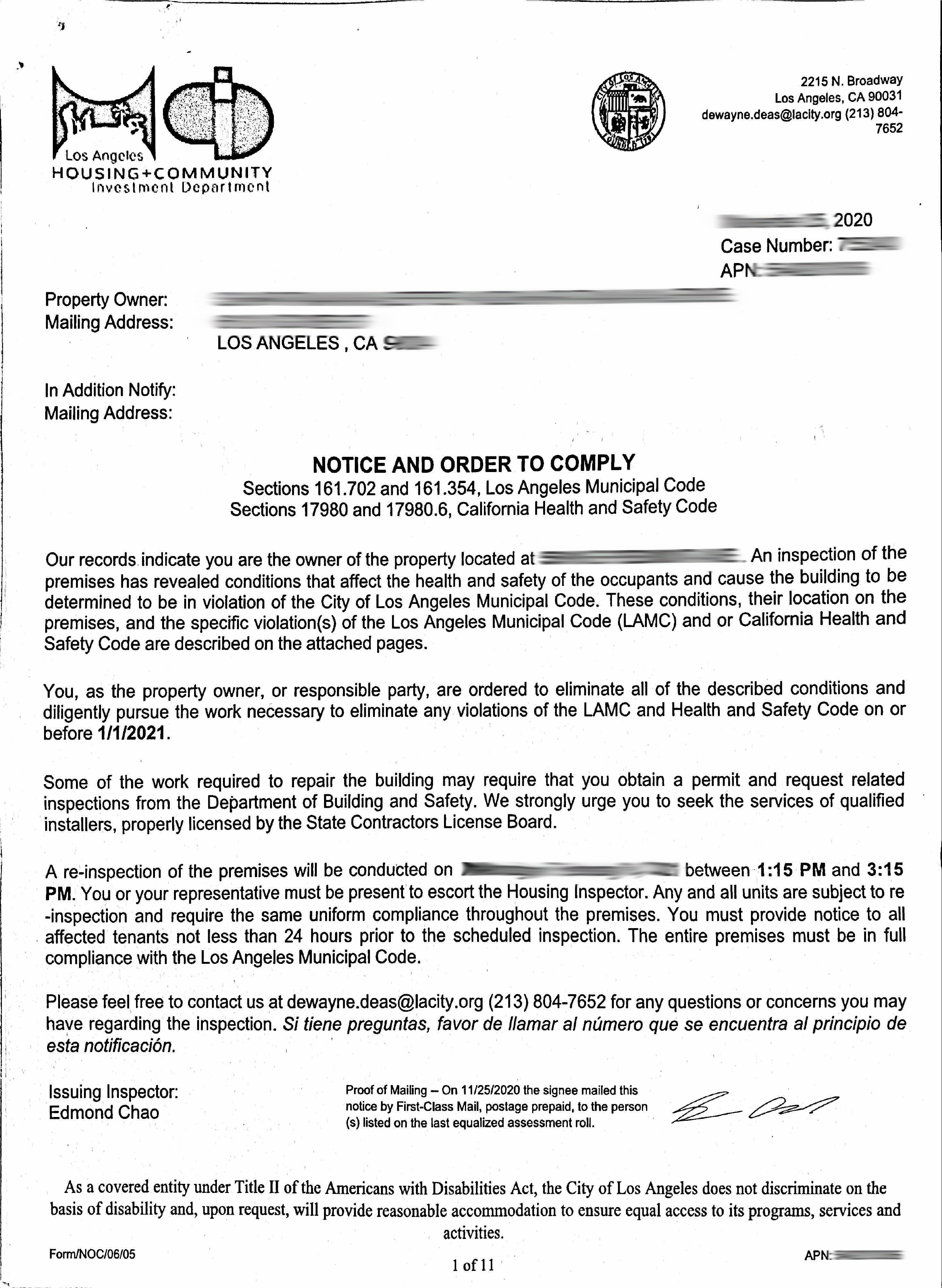 Notice and Order to Comply